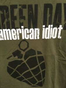 GREEN DAY American Idiot shirt olive grenade official merch punk COLLECTIBLE