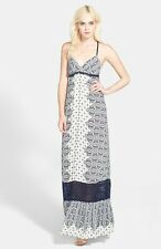 NWT Gypsy 05 Casablanca in Navy Rayon Voile Triangle X-Back Maxi Dress XS $210