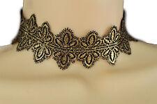 Women Metallic Gold Lace Black Fabric Wide Band Choker Necklace Fashion Jewelry