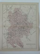 Bedfordshire, 1861 Antique Map, Hughes, Atlas