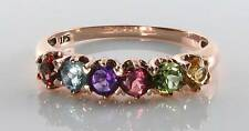RARE 9CT 9K ROSE GOLD MULTISTONE ETERNITY ART DECO INS RING FREE RESIZE