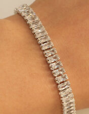 18K White Gold Finish Emerald Cut Tennis Bracelet For Women 1 Carat 7.25' Inches