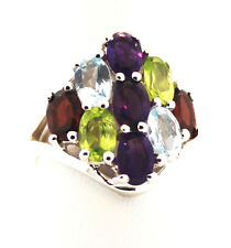 Limited Edition Multi-Colored Gemstones ATGW 4.13 Cts.   Sterling Silv Ring