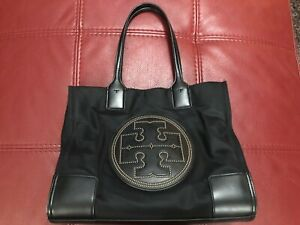 Authentic TORY BURCH Studded Ella Nylon & Leather Tote W/ Gold Accents