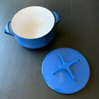 Dansk Blue Kobenstyle 2 Qt Enamel Dutch Oven IHQ France Lid Stock Pot