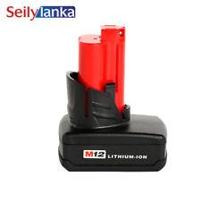 For Milwaukee 12V 4000mAh power tool battery 48-11-2402,C12 B,C12 BX,M12