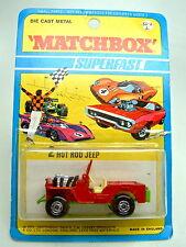 Matchbox SF Nr. 2B Jeep Hot Rod rot rare grüne Bodenplatte top im Blister
