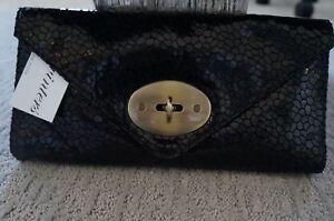 NEW JJ Winters Large Blck Leather Hilary Turnlock Envelope Clutch Handbag RP$305