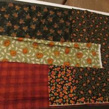 Halloween Fall Autumn Pummpkins Ghosts Bats Candy Corn Checkered Fabric Remnant 2yd x 88 W NICE