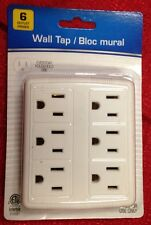 6 Outlet Wall Tap Grounding Adapter UL 15A 125V 60Hz 1875W Max Power Strip