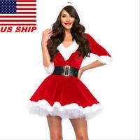 US! Women Christmas Red Hoodie Santa Claus Dress with Belt Bustle Xmas Costume