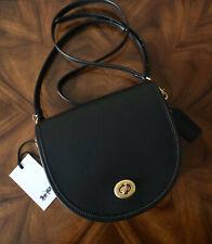 NWT Coach 1941 Originals 1998 Design Black Leather Turnlock Saddle Crossbody Bag