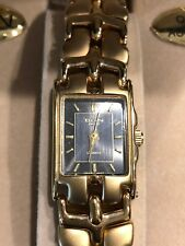 Elgin Ladies Womens Gold-tone Dress Watch with Blue Gray Face Quartz Accurate