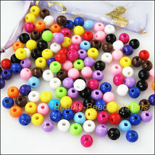 200Pcs Mixed Plastic Acrylic Solid Round Ball Charms Spacer Beads 6mm