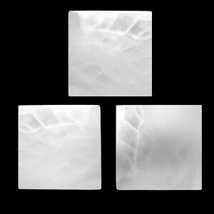 "3PC Selenite ""Charging"" Plate Flat Natural Crystal Display Tiles Polished Disc"