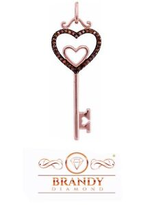 Brandy Diamond® Chocolate Brown 10K Rose Gold Key To My Heart Necklace Pendant