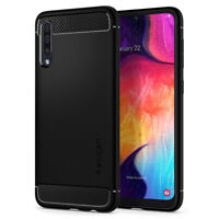 Galaxy A50 | Spigen® [Rugged Armor] Matte Black Shockproof Slim Case Cover