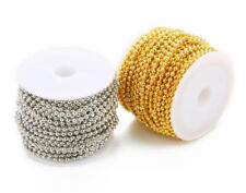 A Roll 2.4mm Silver & Gold plated Metal Ball Round Beads Chain Necklace DIY