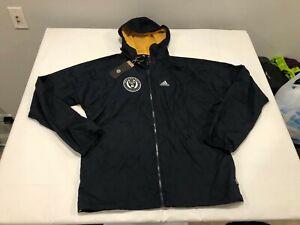 NWT $120.00 Adidas Mens MLS Philadelphia Union Windbreaker Jacket Navy Sz SMALL