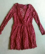 SEXY ASOS BEAUTIFUL DEEP RED STRETCH LACE LONG SLEEVE SHORT SKATER DRESS SIZE 12