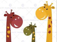 PAINTING CARTOON ANIMALS GIRAFFES CHILDREN KIDS VECTOR POSTER PRINT BMP11033