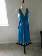 NEW S Small turquoise teal maternity nursing gown dress sleepwear daywear