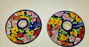 Portuguese Pottery Candle Holder Hand Painted Portugal Flowers Signed Set of 2