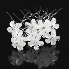 10pcs gorgeous white flower crystal bridal bridemaids hair pins accessories 12mm