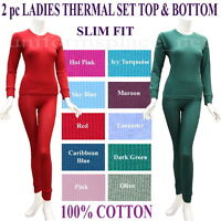 Women THERMAL SET 2pc Top/bottom JUNIOR SLIM FIT UNDERWEAR Long John 100% COTTON