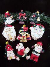 LOT 9 GLAZED POLYMER CLAY CHRISTMAS ORNAMENTS ~ GOLFING TENNIS SANTA