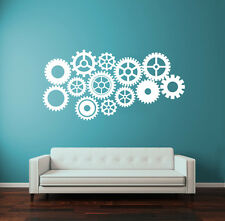 Wall Decal Vinyl Sticker Steampunk Gears and Cogs Geometric Machine r1368