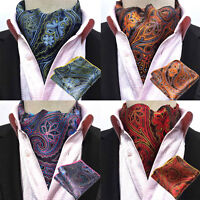 Men Fashion Paisley Cravat Ascot Necktie Matching Hanky Pocket Square Set HZ240