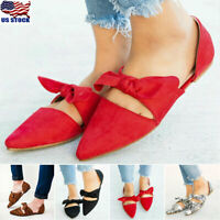 US Women Summer Pointed Toe Ballet Flat Bow Tie Slip On Sandals Dress Shoes Size