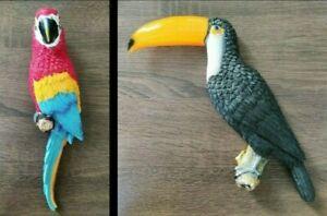 Gartenfigur - Wanddeko - Papagei Ara - Tukan - Vogel - Garten Balkon Deko Figur