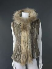 New Woman Vest With Hood Real Fur Rabbits With Raccoon Trim SZ M Natural Brown