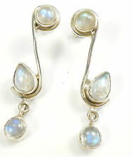 RAINBOW MOONSTONE 925 STERLING SILVER EARRINGS STAMPED GEMSTONE 3.6 g