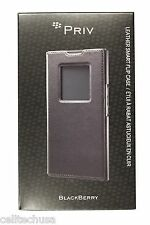 New OEM BlackBerry ACC-62173-001 PRIV Leather Smart Flip Folio Case - Black