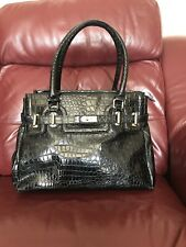 Ladies Dune Bag Black Patent Faux Crocodile Style