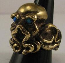 bronze cthulhu ring blue opal custom sized HP Lovecraft mythology creature R96b