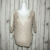 Anthropologie Meadow Rue Women's Mesh Knit Blouse Top Beige Poly Rayon Size XS