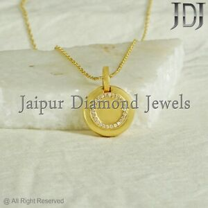 """925 Silver Gold Plated Natural Diamond 16"""" Chain Locket Pendant Jewelry Gifts"""