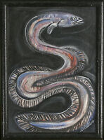 """Untitled (Eel) By S. Walker Signed Framed Oil Painting on Canvas Panel 15""""x11"""""""