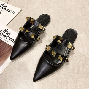 Women Leather Chic Pointy Toe Rivet Slip On Flat Studded Slippers Mules Sandals