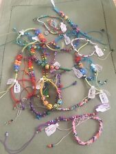 Colorful Seed Beaded Friendship Bracelet Handmade Cotton Rope Charm Mix (5) Lot