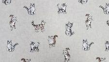 Linen Cats Curtain Craft Cushion Designer Linen Look Fabric