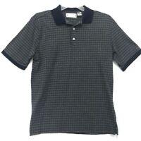 Grand Slam Polo Shirt Mens Sz L Large Gray Blue Check Short Sleeve Cotton Blend