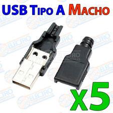 5x USB Tipo A MACHO para cable 4 pin conector carcasa de plastico soldar aereo