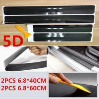 4x 5D Black Carbon Fiber Car Accessories Door Sill Scuff Protector Stickers