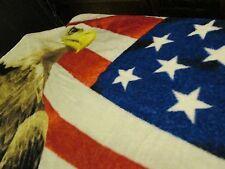 Patriotic Design Over-sized Plush Throw, Flag, Bald Eagle, NWT