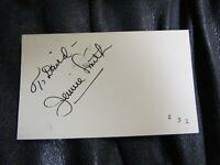 Jennie Smith AUTOGRAPHED 3X5 INDEX CARD